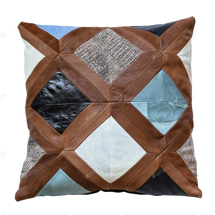 top view of handmade patchwork leather pillow