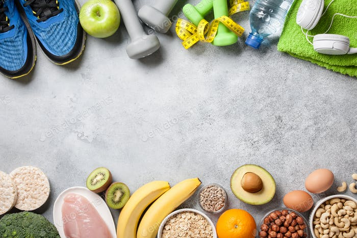 Healthy eating and fitness concept