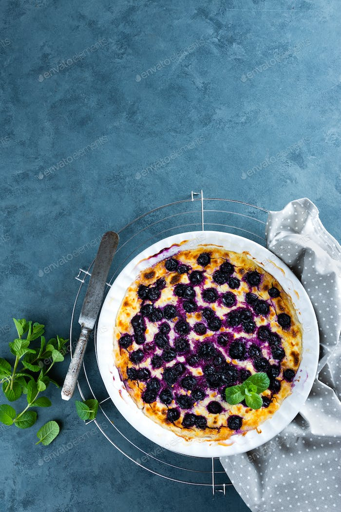 Cottage cheese casserole baked with blueberry. Curd casserole with fresh berries