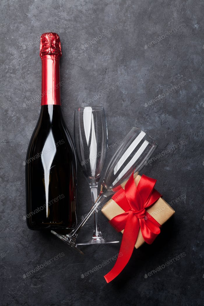 Champagne and Christmas or Valentines day gift
