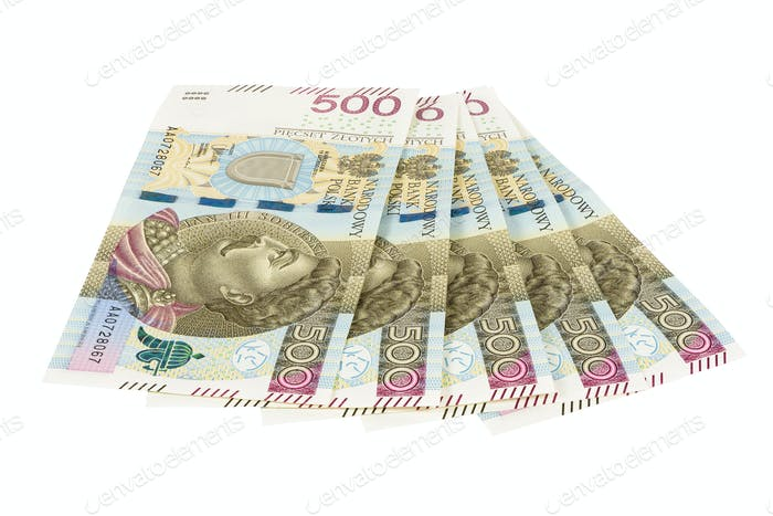 New banknotes of 500 polish zloty on white background