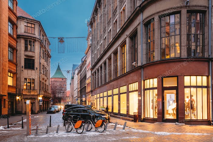 Riga, Latvia. Shop And Powder Tower On Valnu Street In Winter Ev