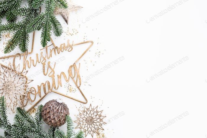 Weihnachten kommt - Poster oder Postkarten-Design.
