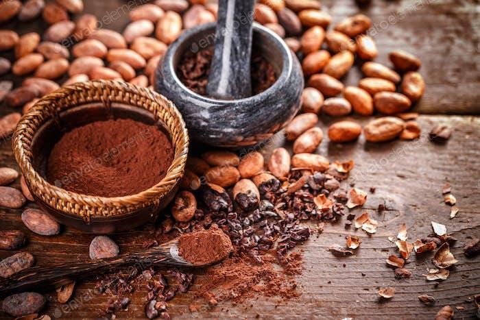 Still life of ground cocoa