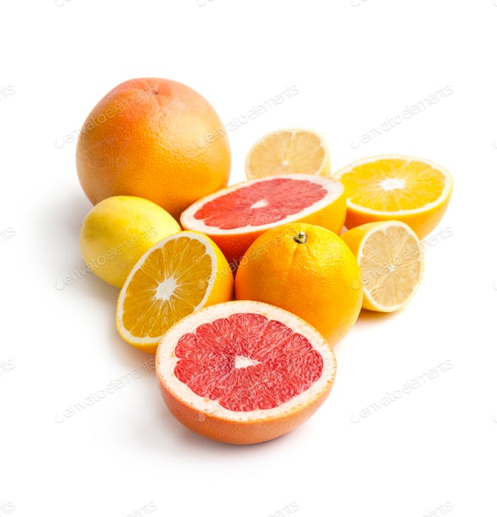 Mix of citrus fruits on a white background.
