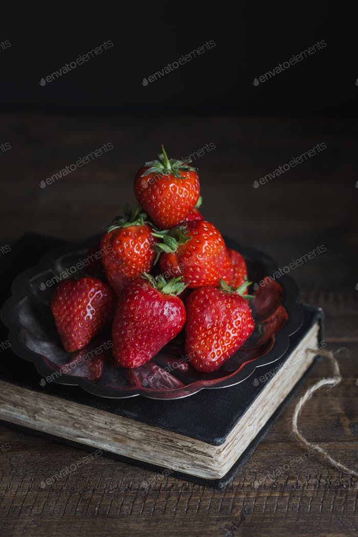 Fresh Strawberries Stacked on Silver Platter