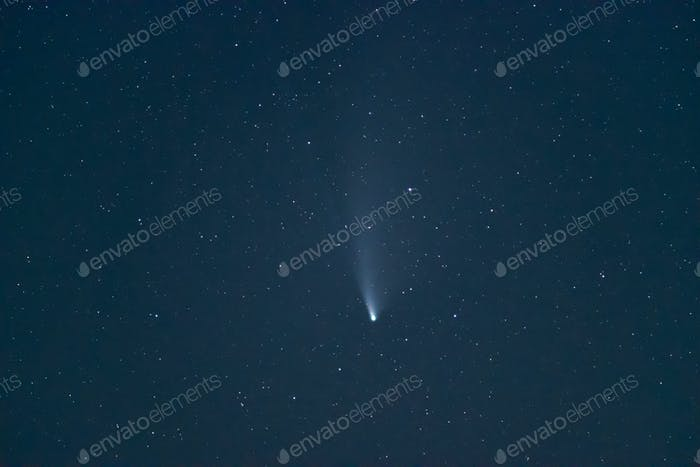 Comet c/2020 F3 Neowise at deep night sky.