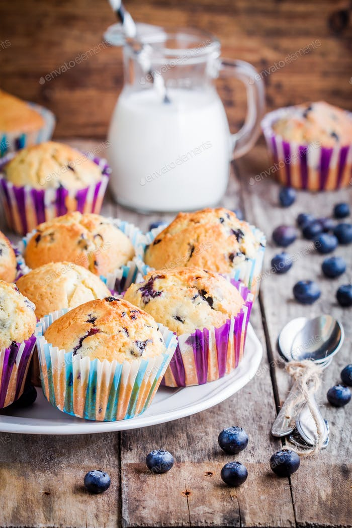homemade blueberry muffins with milk