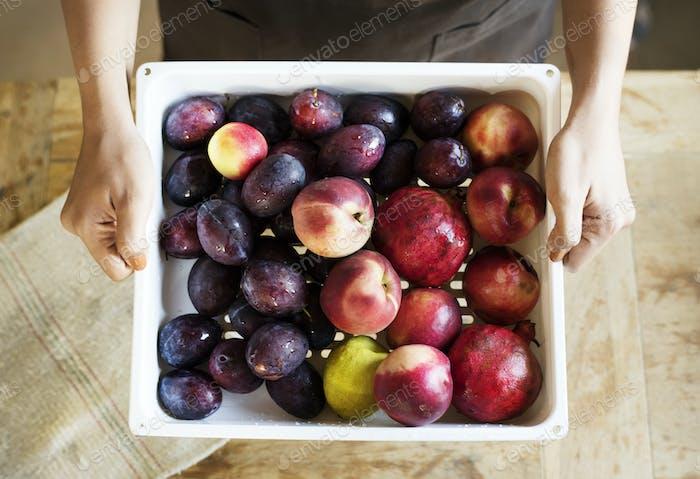 rganic fruits food photography recipe idea