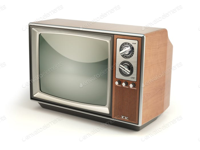 Vintage TV set isolated on white background. Communication, medi