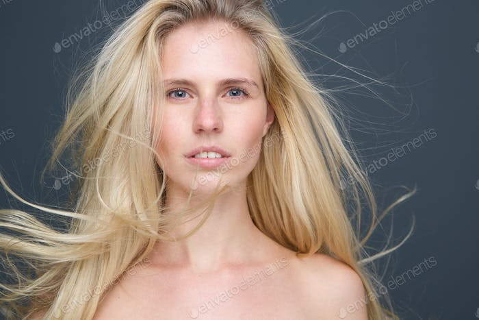 Sensual blond woman with long blond hair
