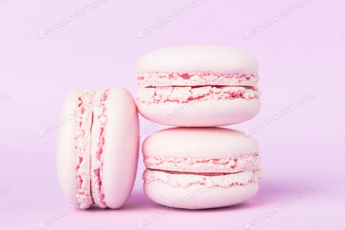Three sweet purple macaroons