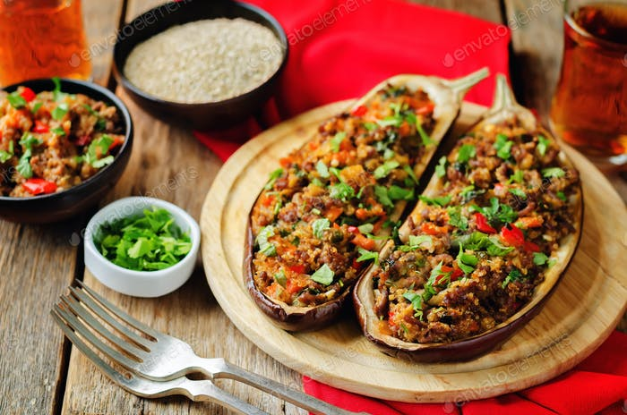 Minced meat quinoa vegetables stuffed eggplants