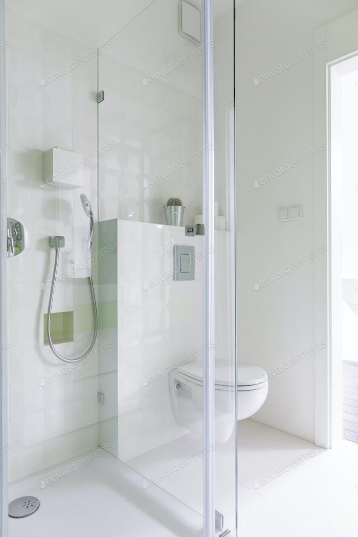 Bathroom with glazed shower