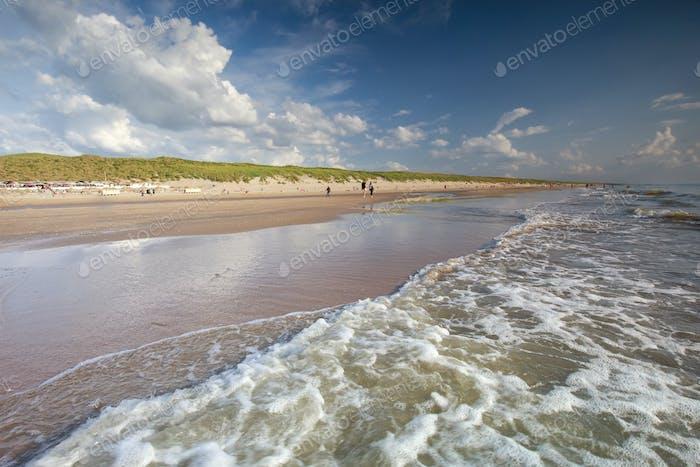 waves on North sea beach in summer
