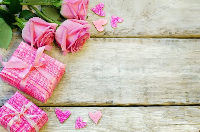 Valentine's background with gifts and flowers