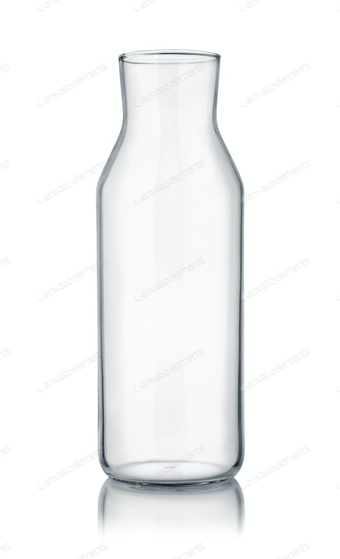 Front view of empty glass carafe