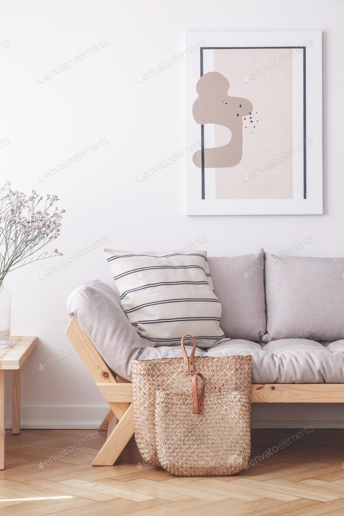 Two bags on the floor of stylish apartment with grey couch and f
