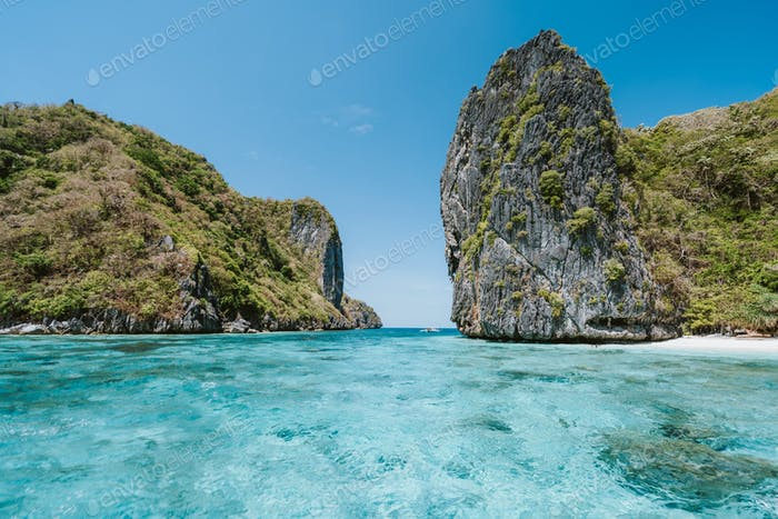 Shimizu Insel mit türkisblauen Lagune, Bacuit Archipel, El Nido, Palawan, Philippinen, Asien