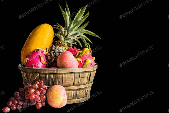 fruits on a black background