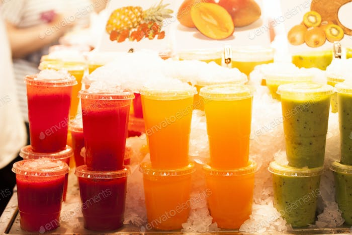 Fresh fruits juices exposed