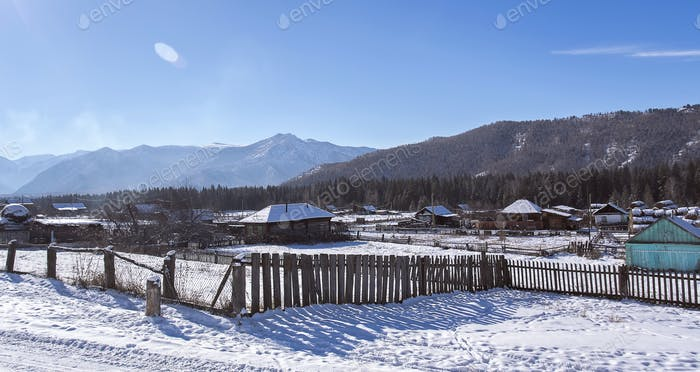 the winter village Katanda, Altai, Siberia, Russia