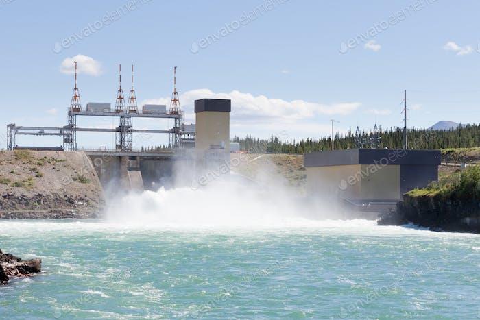 Whitehorse hydro power dam spillway Yukon Canada