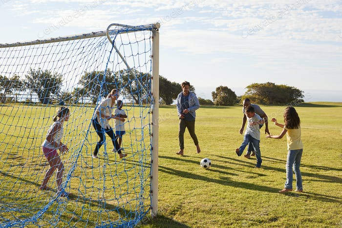 Girl defending goal during family football game