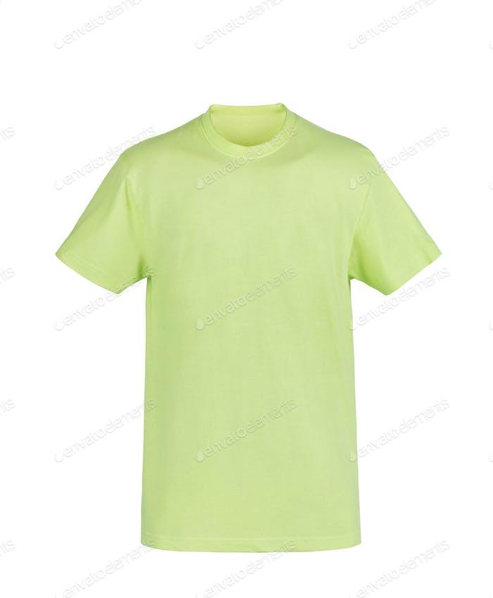 Grünes T-Shirt isoliert auf weißem Hintergrund
