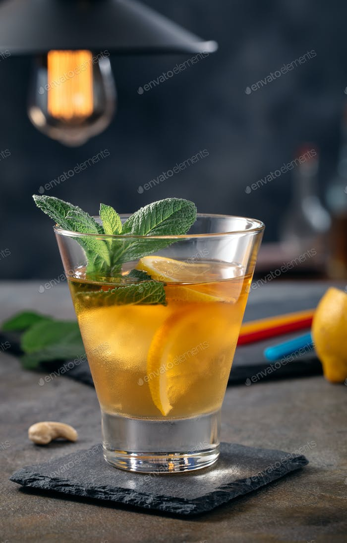 Glass of bourbon based cocktail