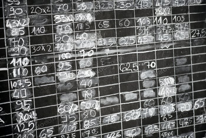 Grungy blackboard with columns of numbers