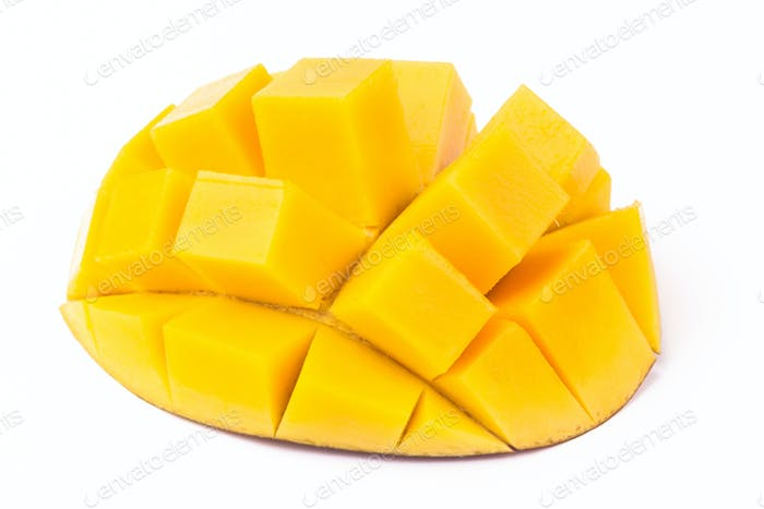 Mango Cubes On White