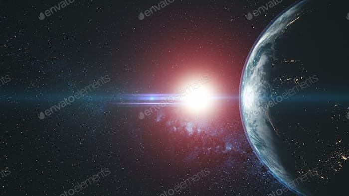 Planet Erde Kreis Rundlicht Sonnenstrahl Glühen