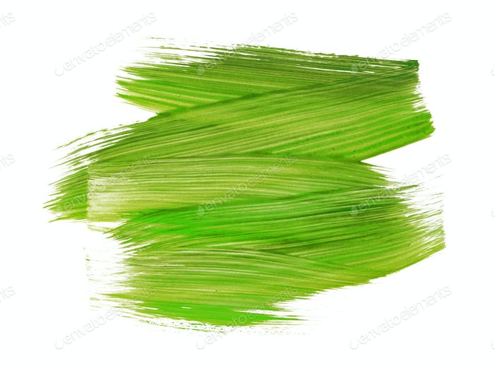 green paint brush texture on white background
