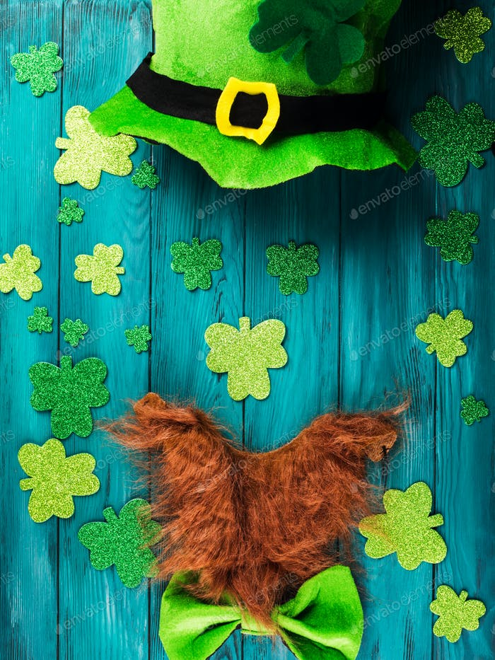 St Patrick Day costume background with shamrocks