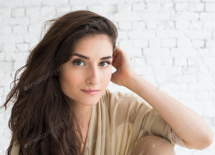 Young gorgeous beautiful woman girl natural casual portrait.