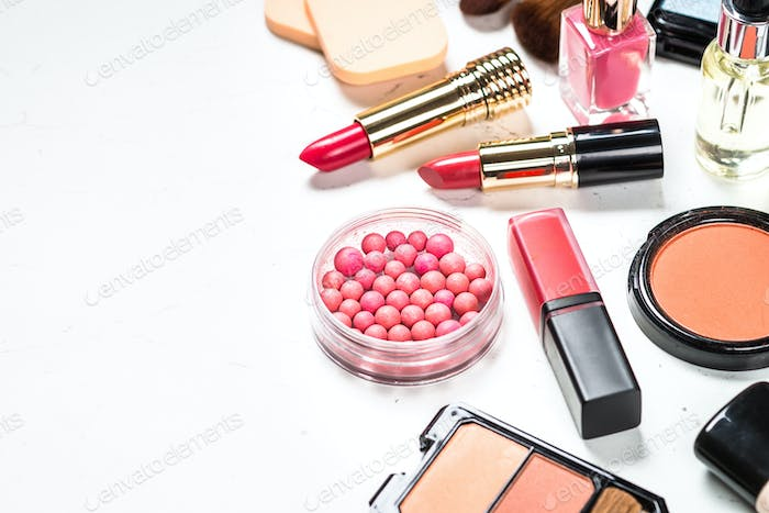 Makeup professional cosmetics on white background