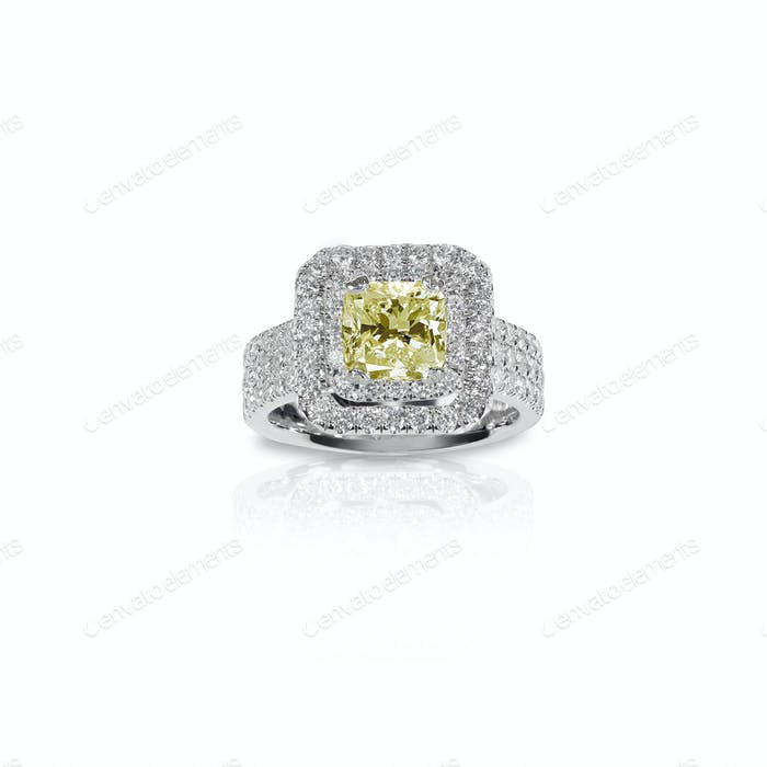 Fancy Yellow Citrine Topaz Beautiful Diamond Engagement ring. Gemstone square princess cut
