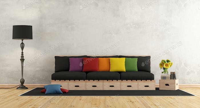 Living room with wooden sofa