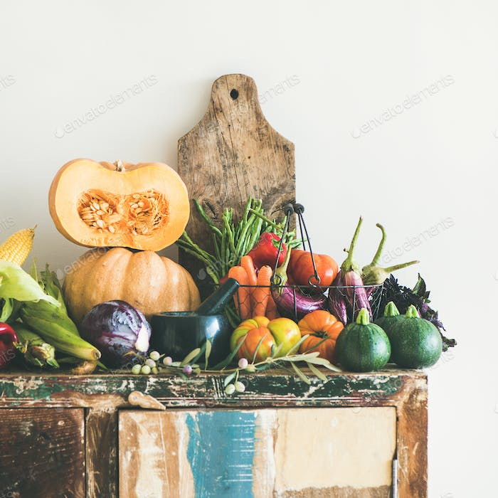 Fall seasonal vegetarian food ingredients variety, copy space, square crop