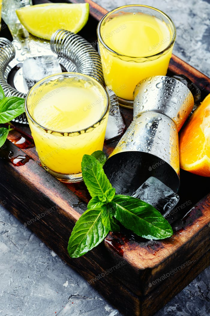 Fresh cocktail with orange