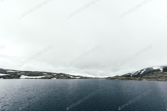 Typical norwegian landscape with clear lake