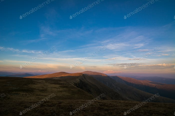 Sunset Fagaras Mountains Landscape, Romania