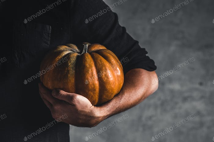 Man holding ripe pumpkin in hands on a gray background