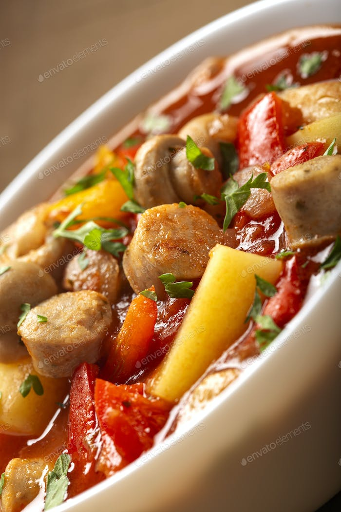 Stew or soup made from vegetables