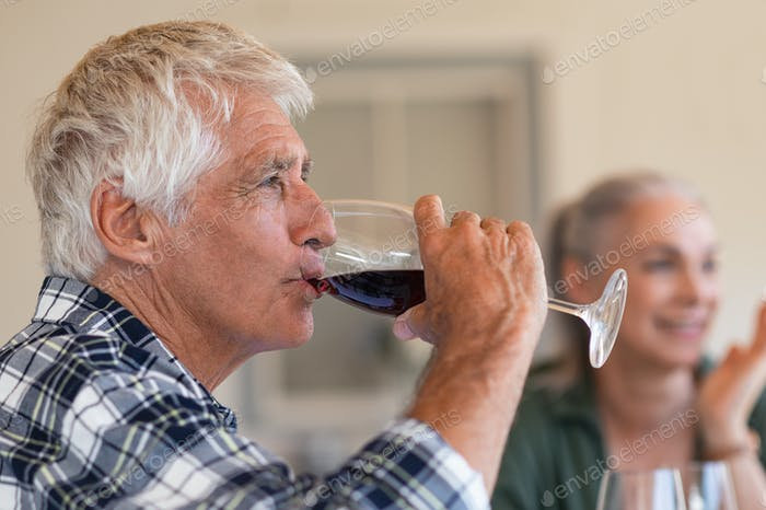 Senior man drinking red wine with friends