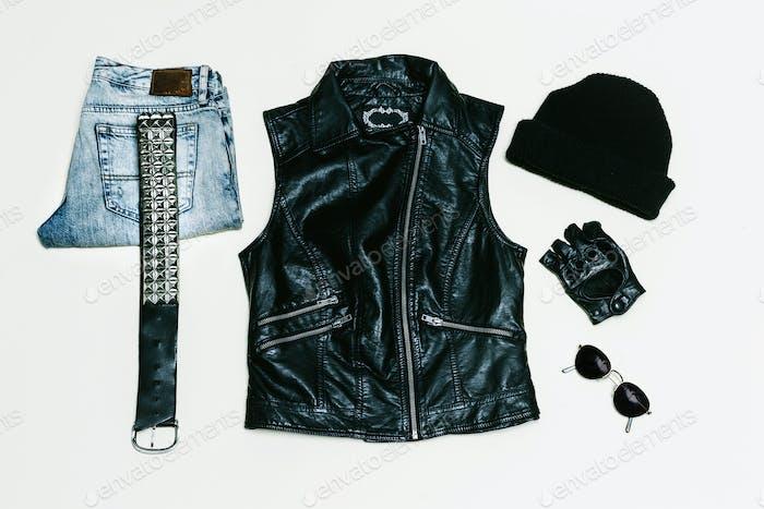 Rock style set. Jeans. Black Urban fashion. Vest, Backpack cap.