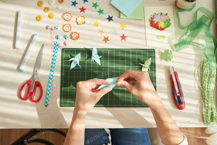 Creative Woman Making Origami Cranes