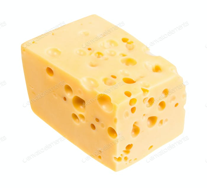 piece of yellow swiss cheese with internal holes
