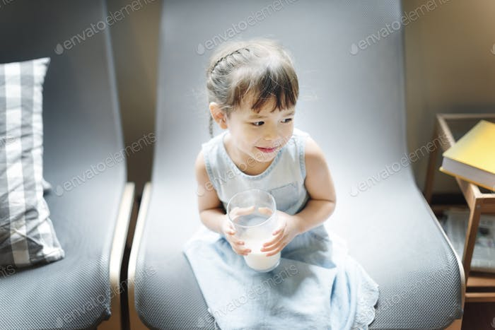 Girl Drinking Milk Hungry Tasty Concept